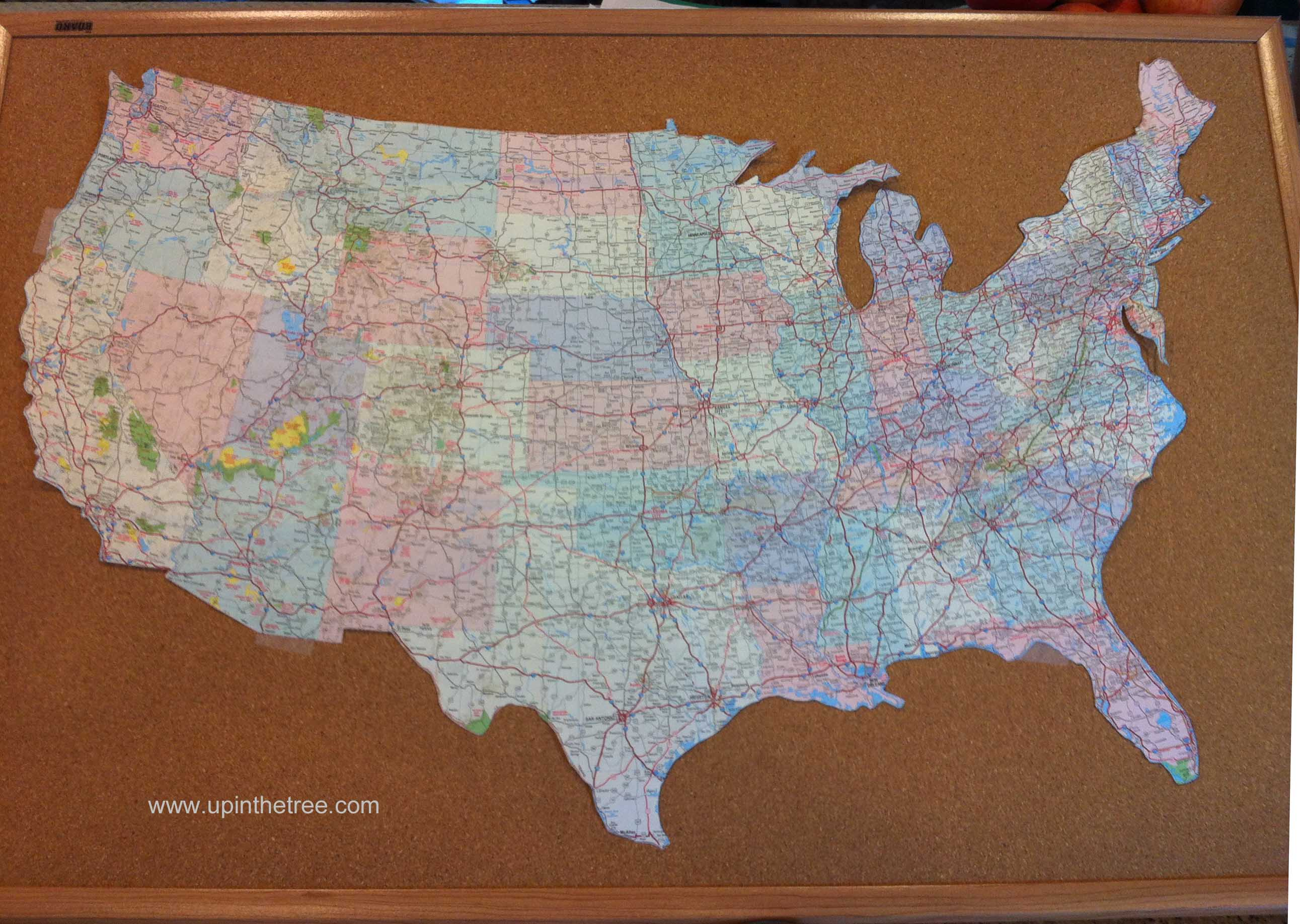 Mappy Monday  A Genealogy Craft  Up In The Tree - Map of the united states cork board