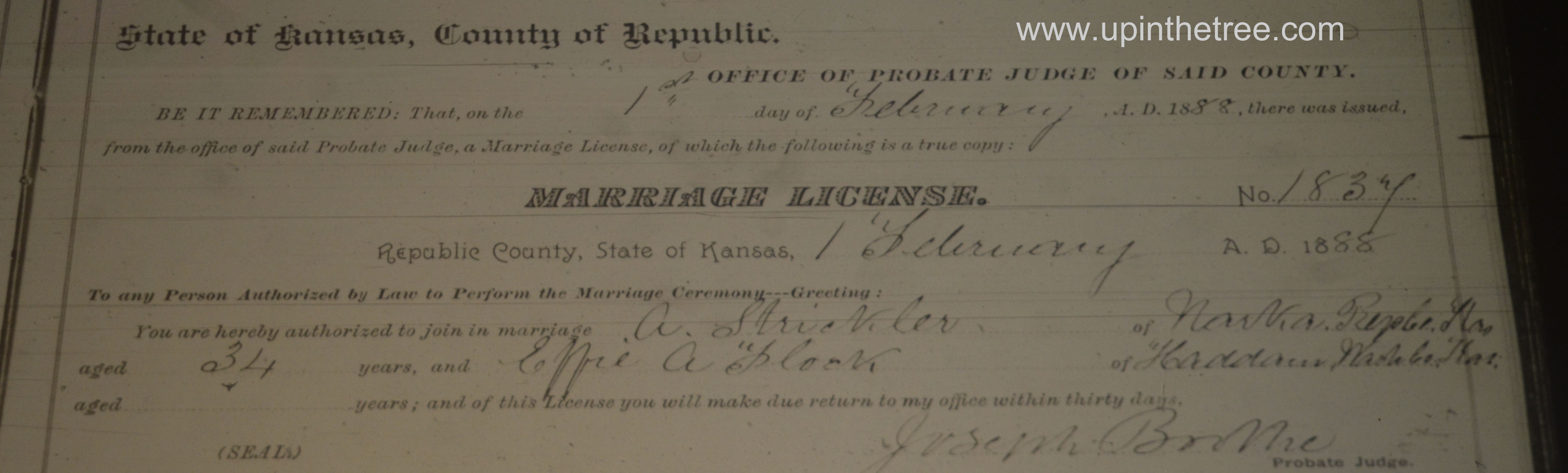 Strickler Flock Marriage Register