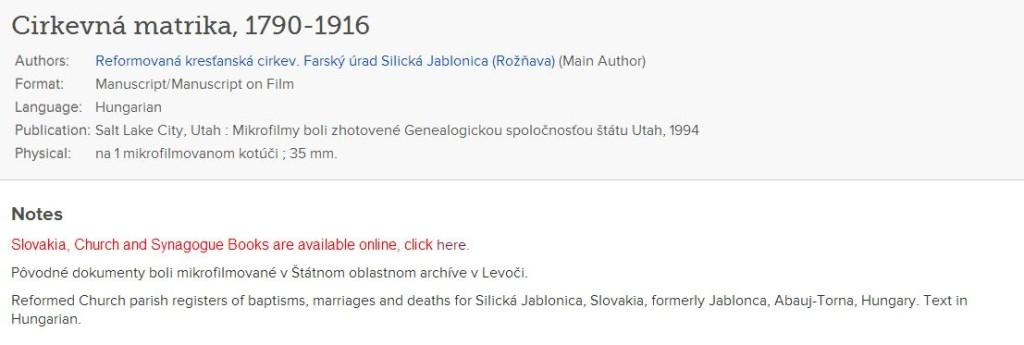 familysearch slovakia