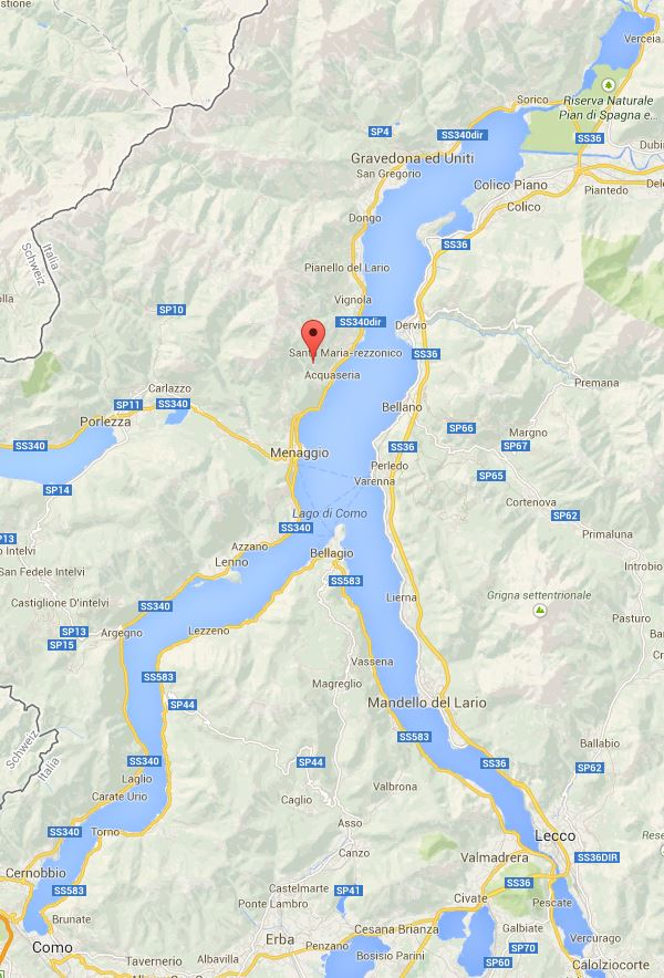 Map of Lake Como.  Carcente is marked with the red pin.