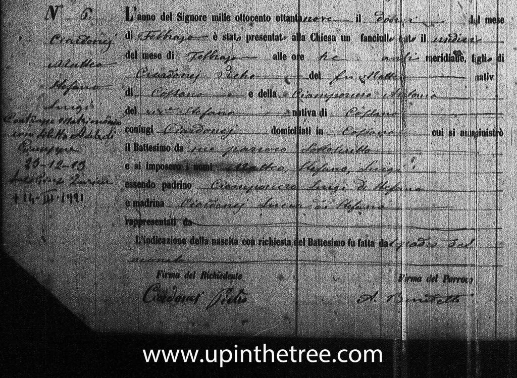 Ciardonei, Matteo Baptism Record