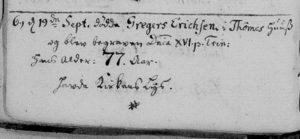 Gregers Erichsen Death Record 1746
