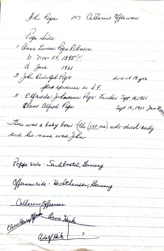 Notes written by Shirley Pope.